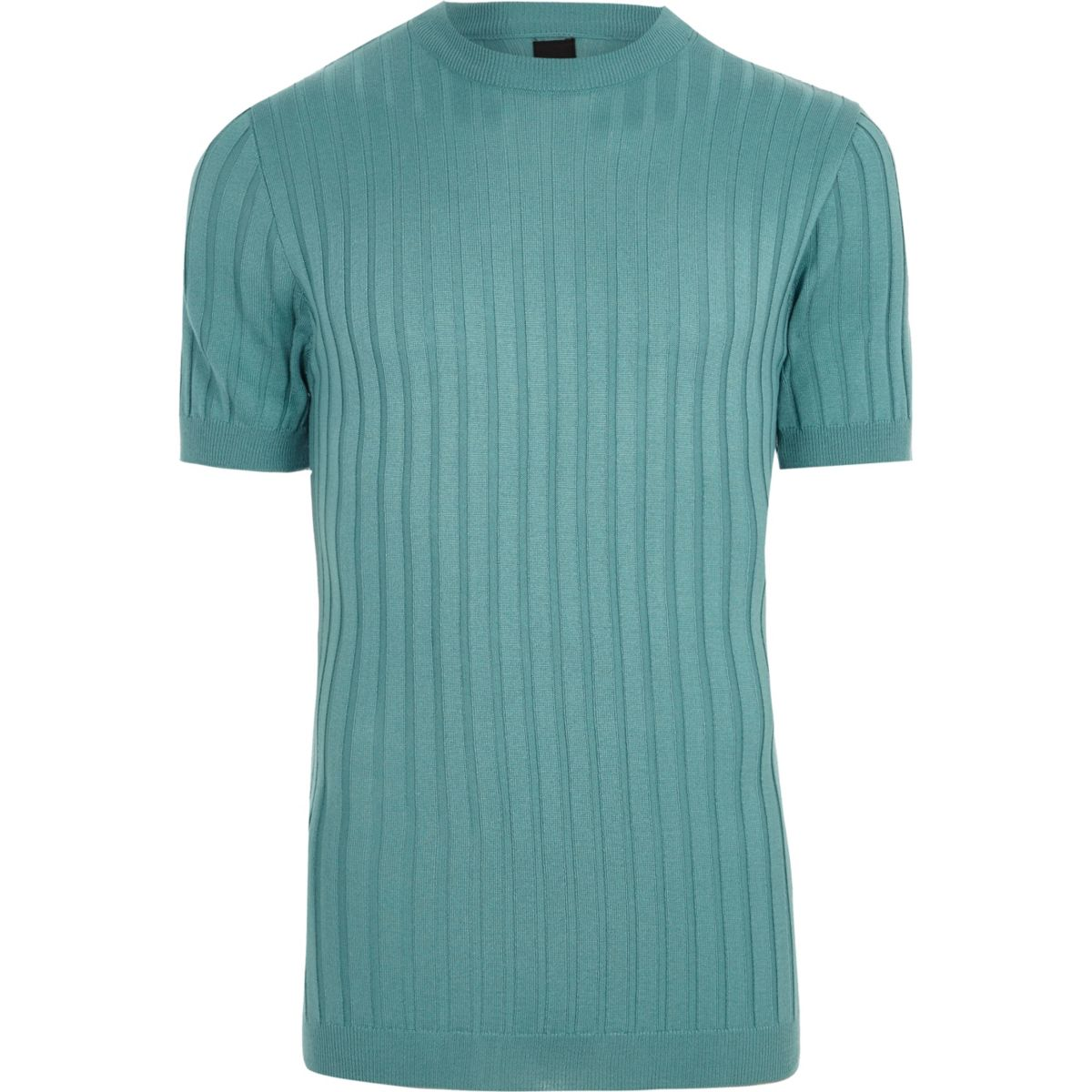 Teal green ribbed muscle fit T-shirt