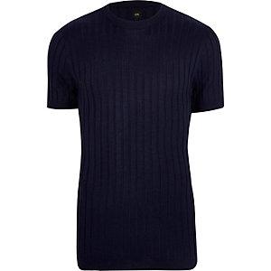 T-shirt ajusté côtelé bleu marine