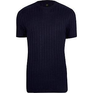 Marineblauw geribbeld aansluitend T-shirt