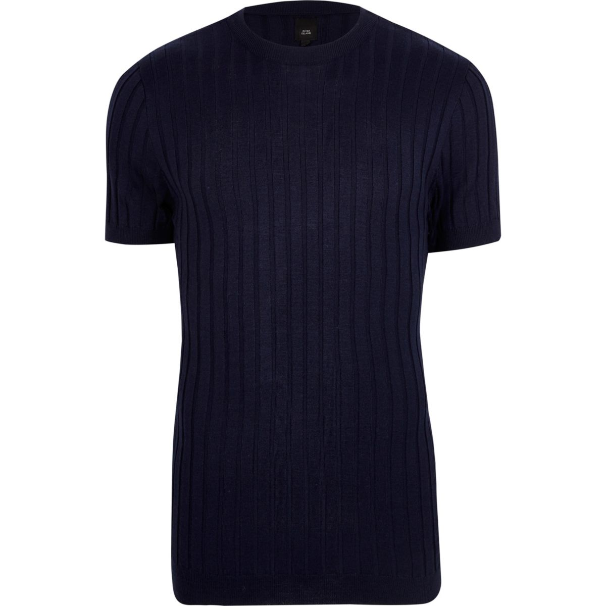 Navy blue ribbed muscle fit T-shirt