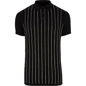 Black glitter stripe knitted polo shirt