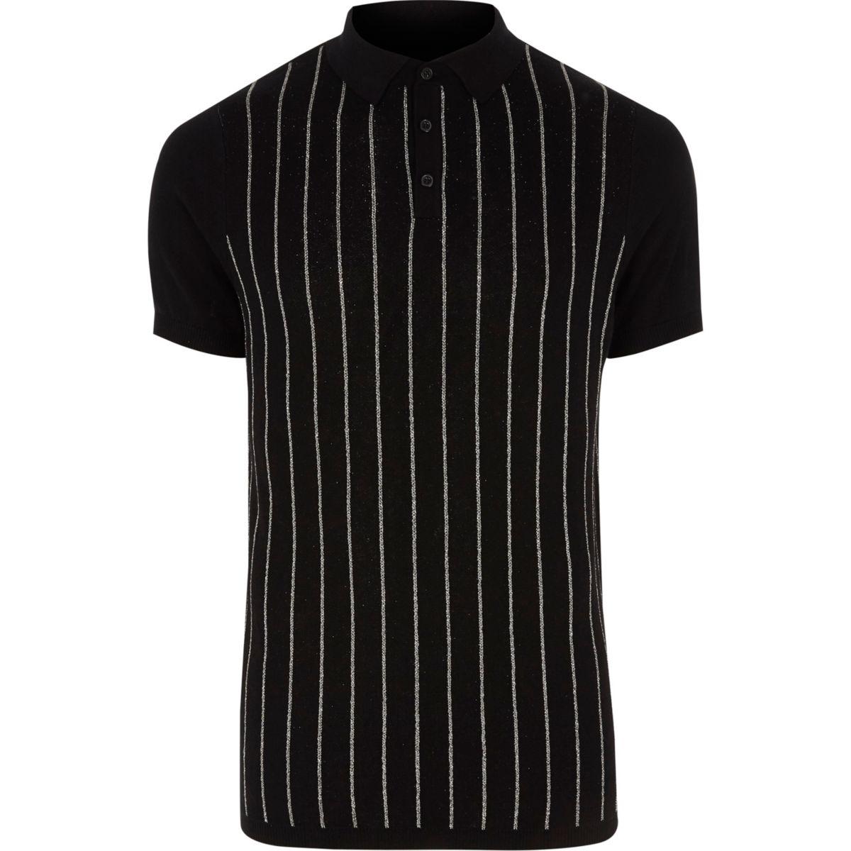 Black glitter stripe knitted polo shirt