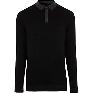 Black slim fit glitter collar knit polo shirt