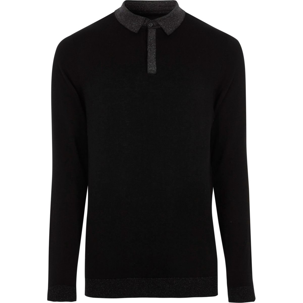 Black slim fit glitter collar knit polo shirt