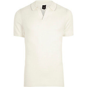 Cream notch V neck polo shirt