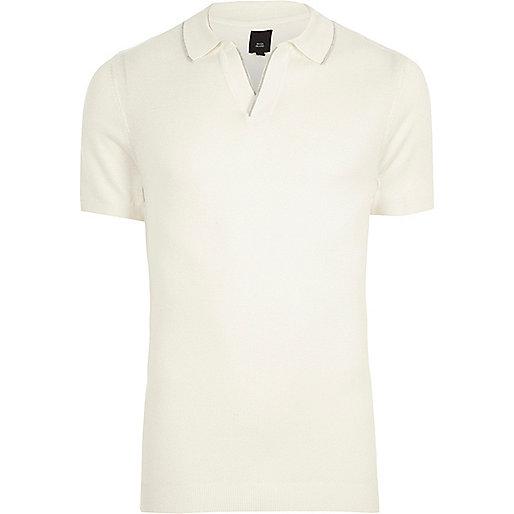 Cream notch V neck polo shirt