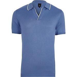 Blue tipped notch V neck polo shirt