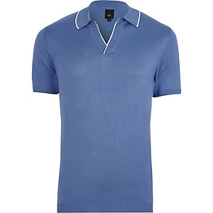 Blue tipped notch V neck polo shirt