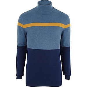 Blue colour block roll neck jumper