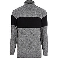 Grey block stripe roll neck knit jumper