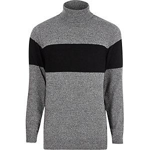 Pull en maille gris à rayures colour block et col roulé