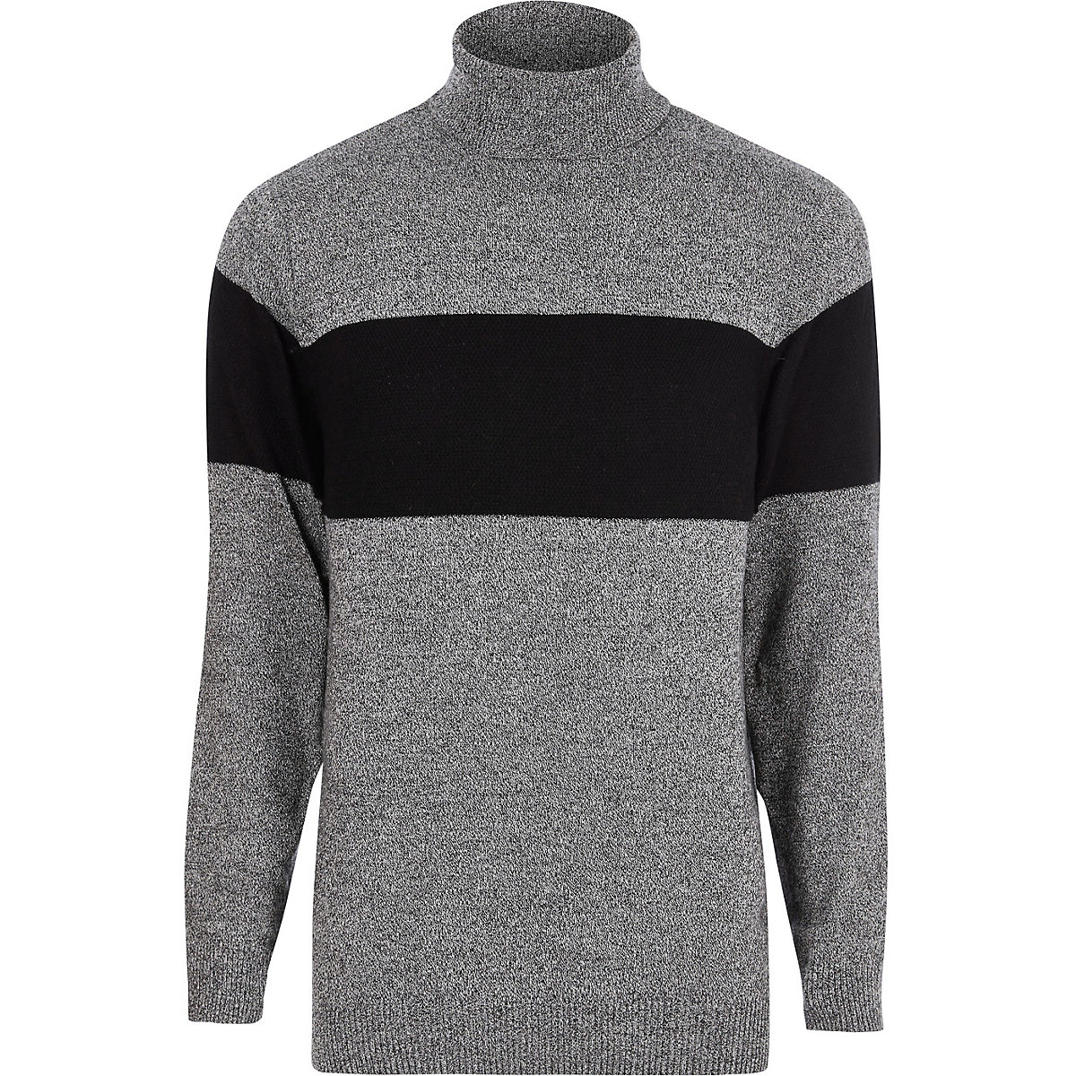 Grey block stripe roll neck knit sweater