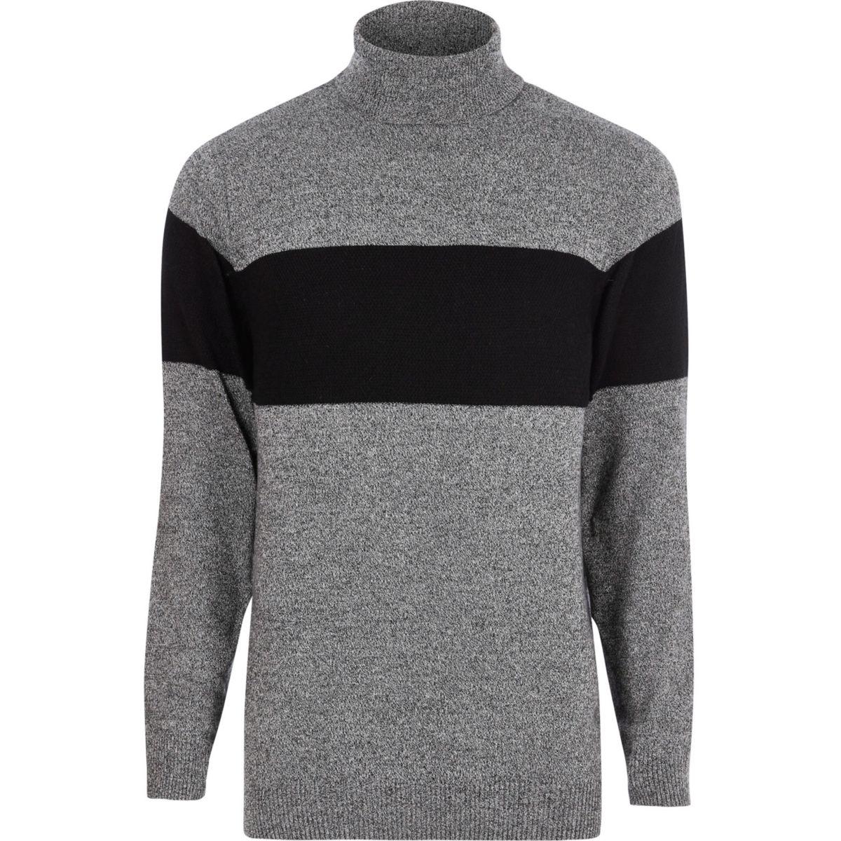Grey block stripe roll neck knit jumper