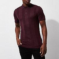 Burgundy rib knit short sleeve polo shirt
