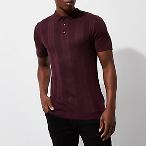 Burgundy rib knit short sleeve polo shirt