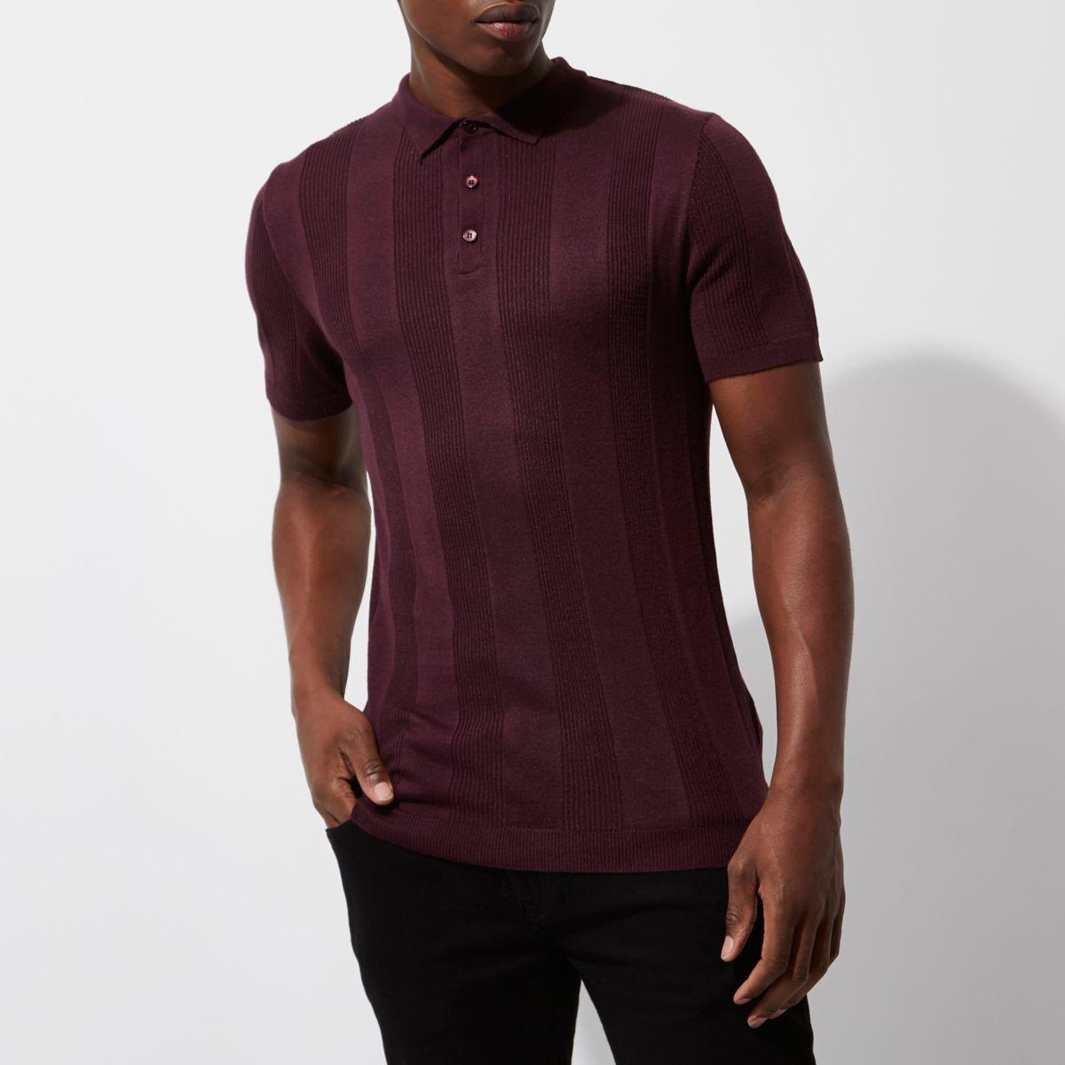Burgundy rib short sleeve muscle polo shirt