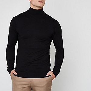 Black roll neck long sleeve sweater