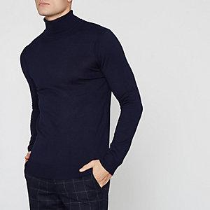 Marineblauwe pullover met lange mouwen en col