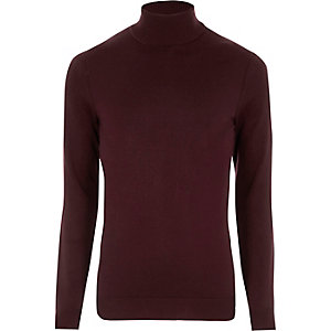 Burgundy roll neck long sleeve sweater