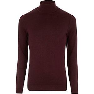 Bordeauxrode pullover met lange mouwen en col