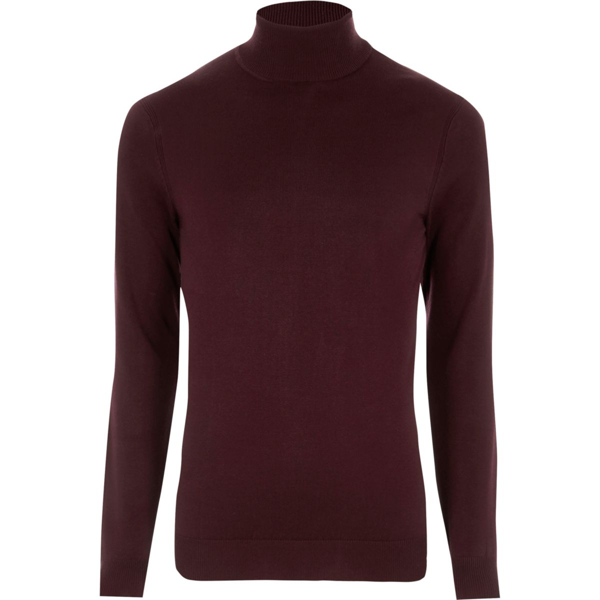 Burgundy roll neck long sleeve sweater