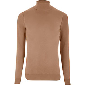 Camel roll neck long sleeve sweater