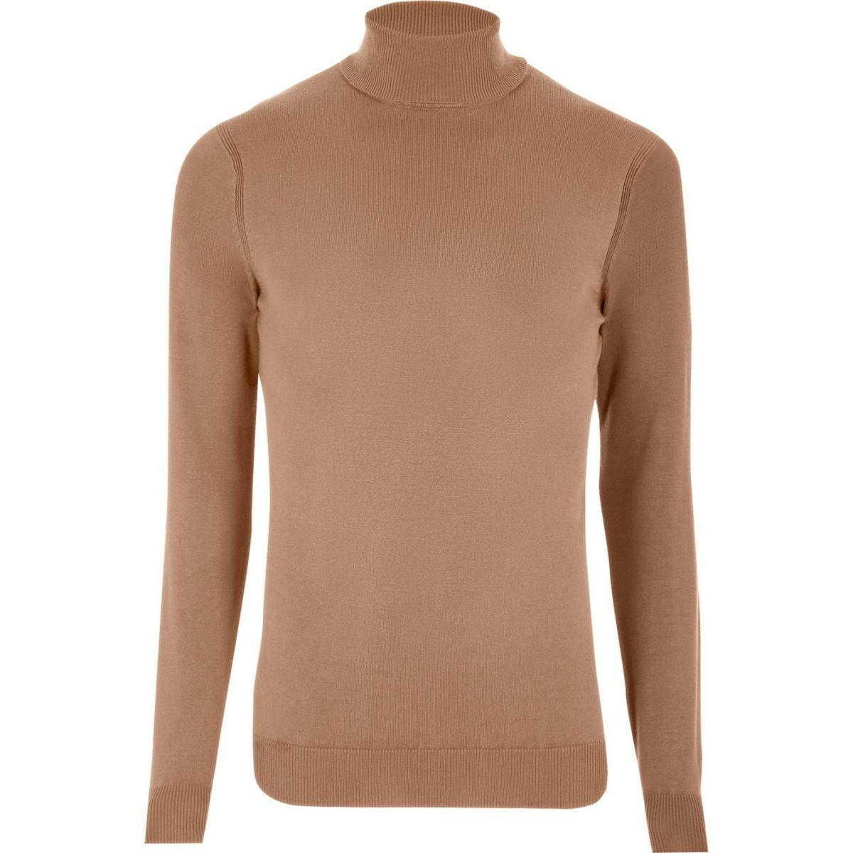 Camel roll neck long sleeve sweater