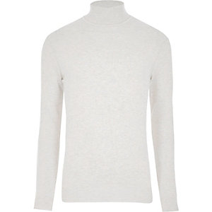 Cream roll neck long sleeve sweater