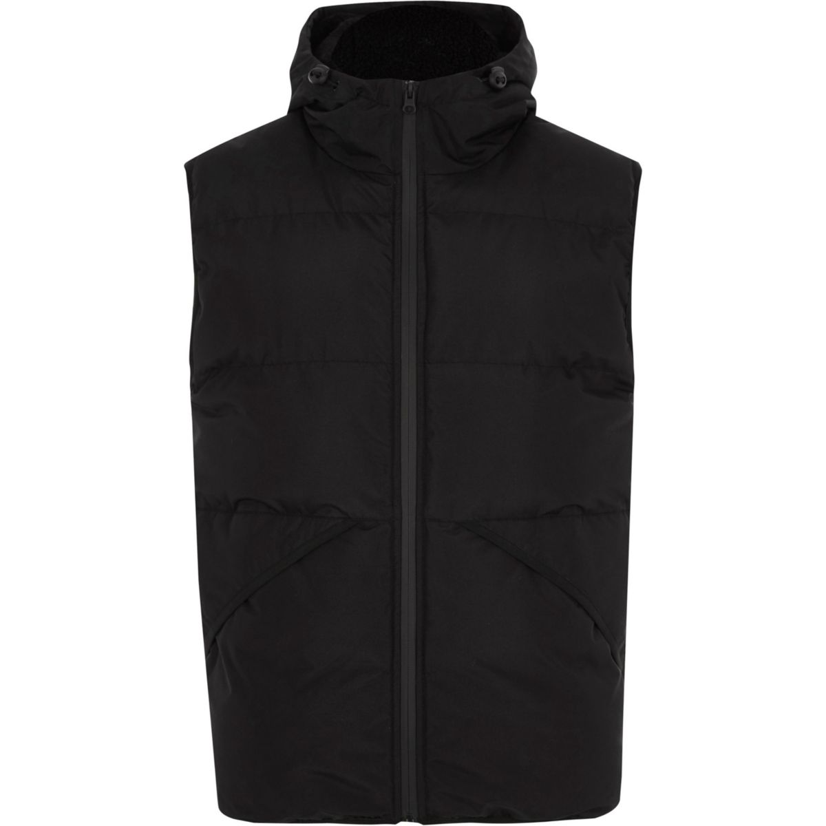 Big and Tall black hooded puffer gilet