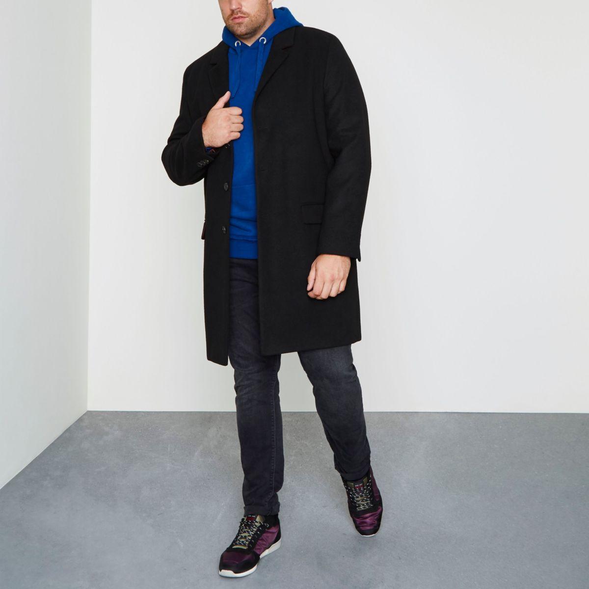 Big & Tall – Eleganter, schwarzer Mantel