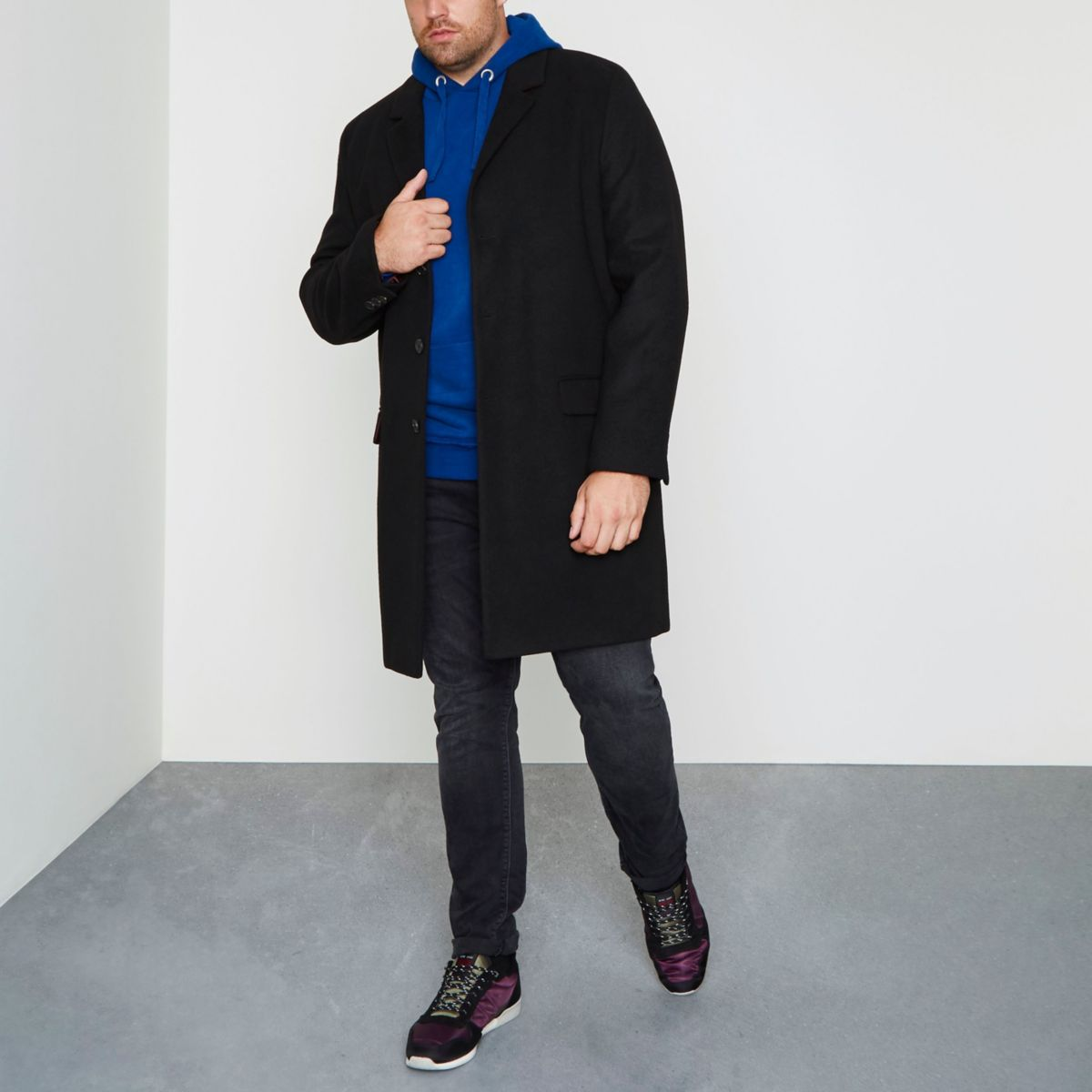 Big and Tall black smart overcoat
