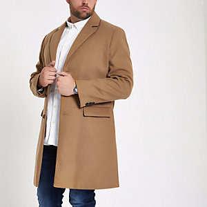 Big and Tall camel button-down overcoat