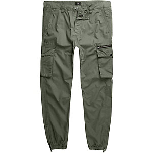 Big and Tall – Pantalon cargo vert kaki