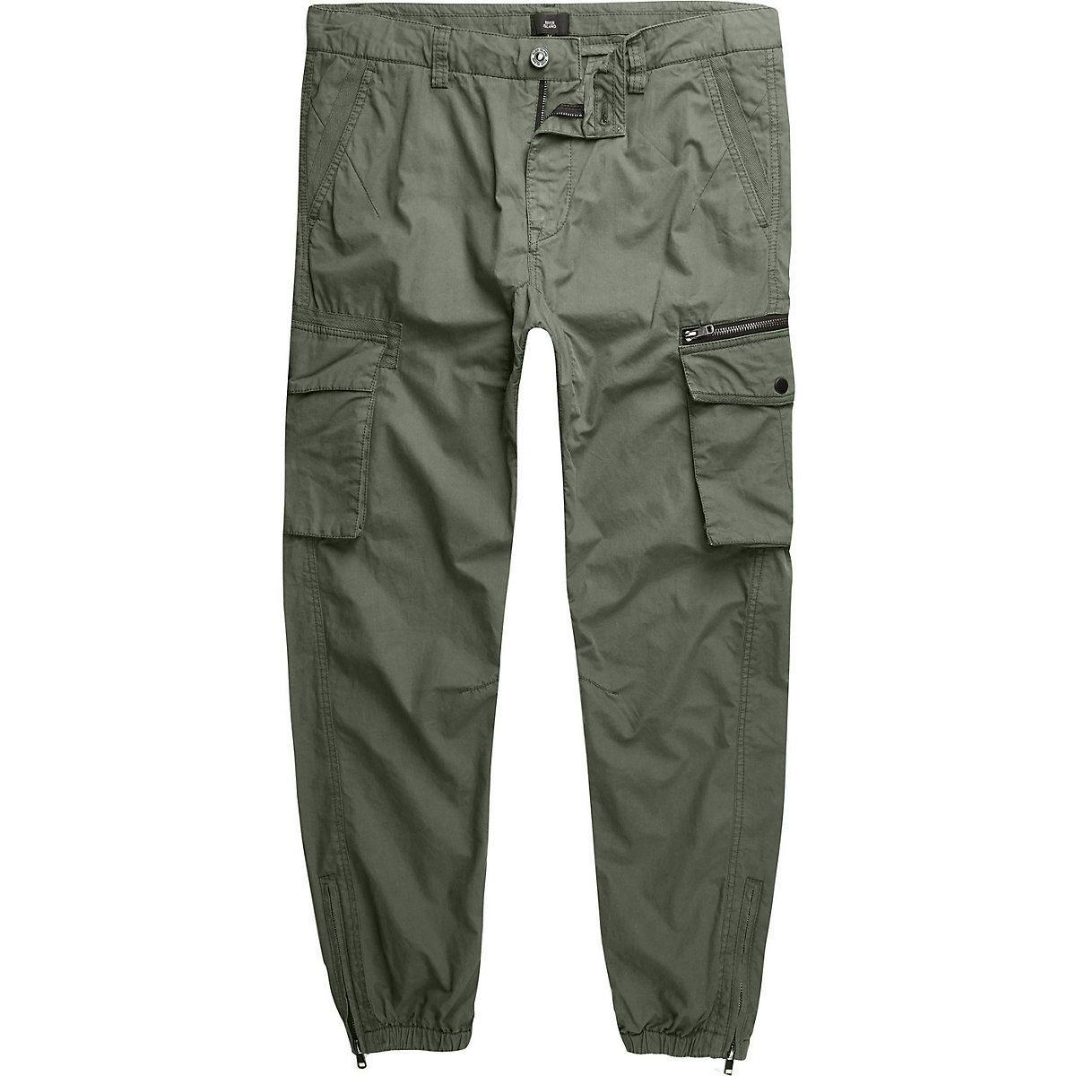 Big and Tall khaki green cargo trousers