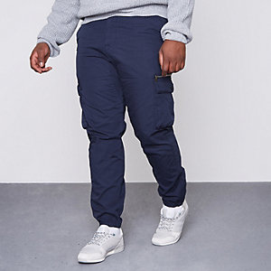 Big and Tall blue cargo trousers