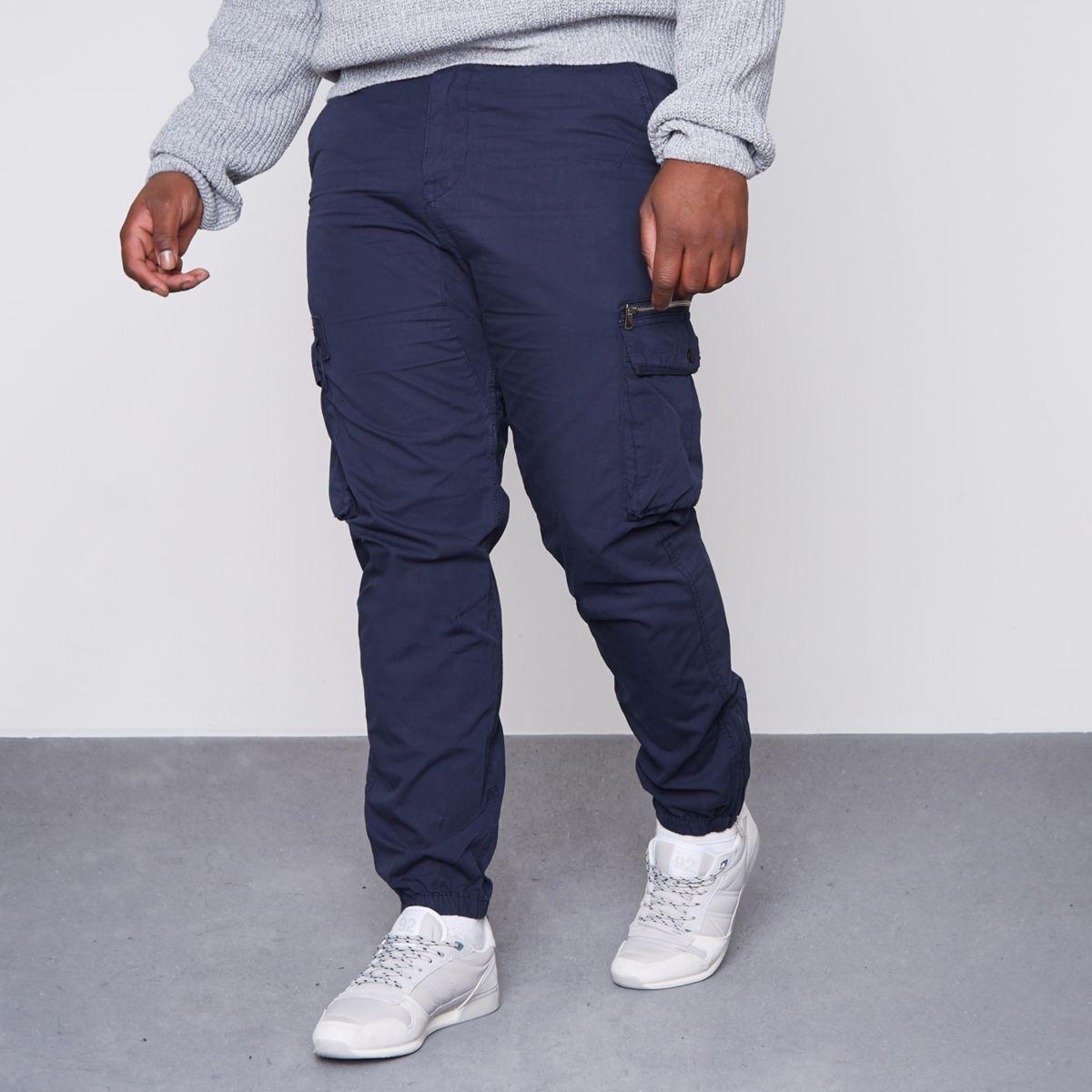 Big and Tall – Pantalon cargo bleu