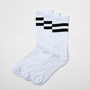 Multipack witte sokken met zwarte strepen