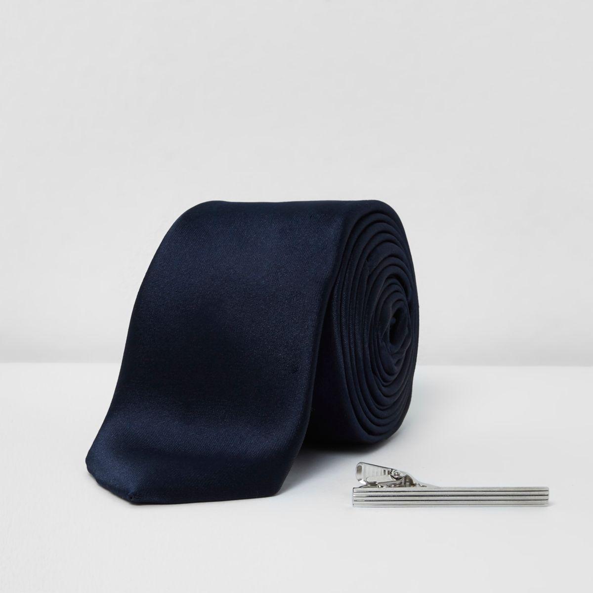 Navy tie with silver tone clip