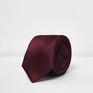 Bordeauxrode satijnen stropdas