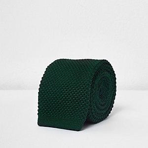 Green textured knit tie