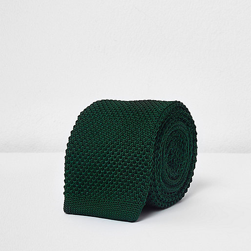 Green textured knit tie