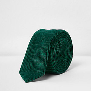 Groene corduroy stropdas