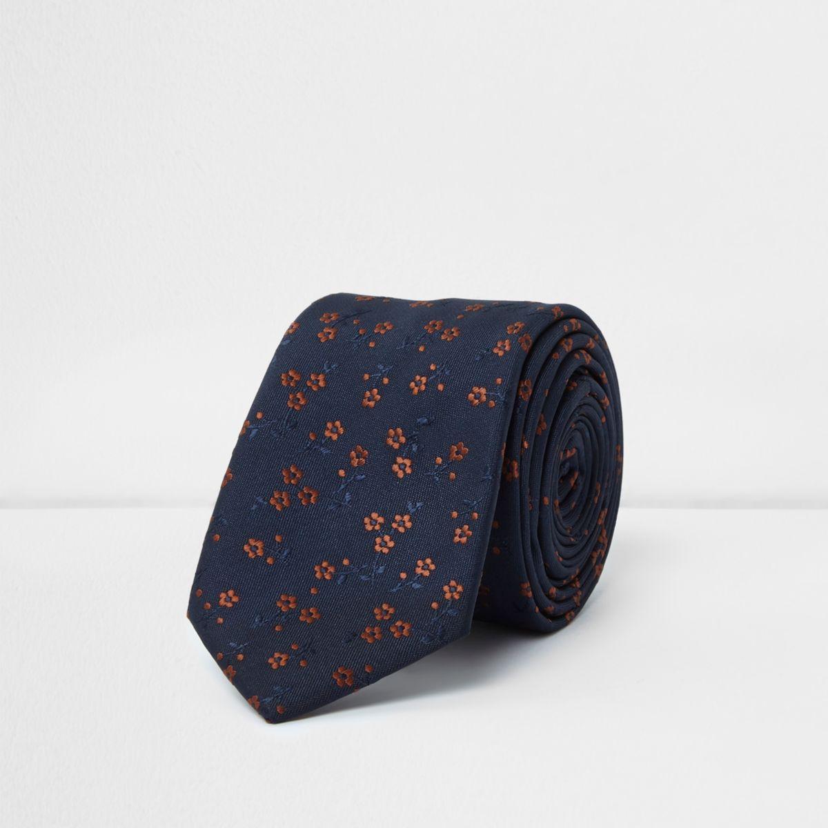 Marineblaue, geblümte Krawatte