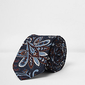 Marineblaue Paisley-Krawatte
