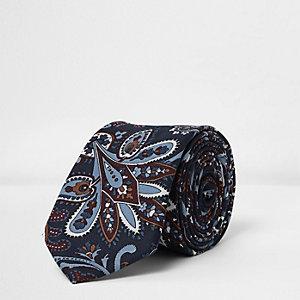 Cravate imprimé cachemire bleu marine