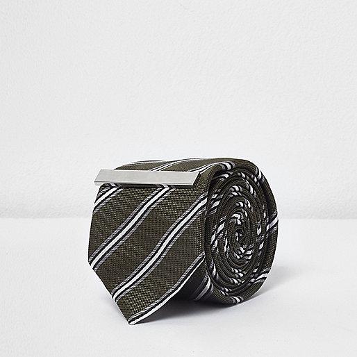 Green stripe tie with clip