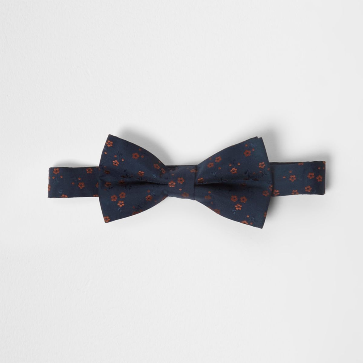 Navy ditsy floral print bow tie