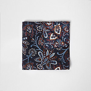 Mouchoir de poche imprimé cachemire bleu marine