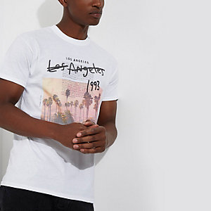 White 'Los Angeles' print slim fit T-shirt
