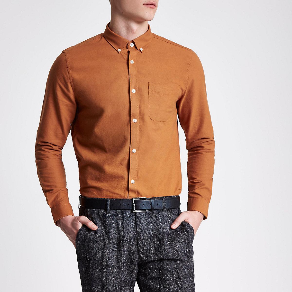 Rust orange long sleeve Oxford shirt